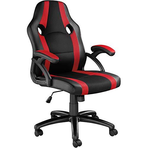 TecTake 800781 Racing Bürostuhl, Chefsessel mit Wippmechanik, Kunstleder Gaming Stuhl, höhenverstellbarer Schreibtischstuhl, ergonomischer Drehstuhl - Diverse Farben - (Schwarz-Rot | Nr. 403479)