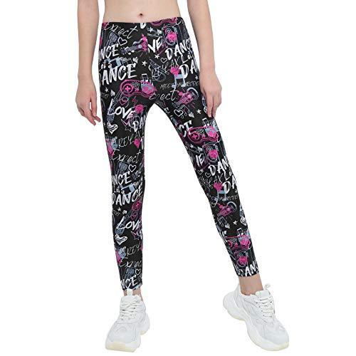 dPois Niñas Leggins Mallas Estampados Pantalones Elásticos Leggings Deportivos Yoga Gym Correr para Niñas Chicas 4-14 años Negro&Rosado 8 años