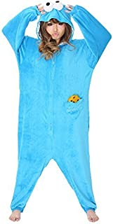Sesame Street Cookie Monster Costume Kigurumi - Adult Pajamas Fancy Dress