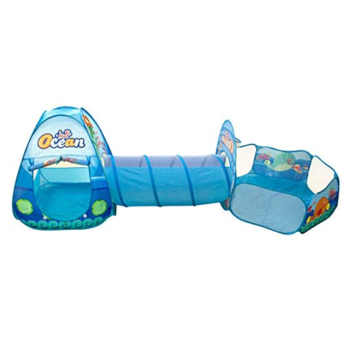 YXYOL Carpa de los niños con el rastreo de túnel y Ball Pool, océano Estilo Kids Play Tent, Interior/Exterior Gamehouse/Playhose, Portátil Tienda del Juego Plegable