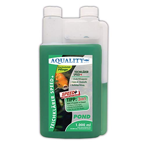 AQUALITY TeichKlärer Speed+ 3in1 (GRATIS Lieferung in DE - Entfernt Trübungen, bindet Schwebstoffe im Gartenteich - Nachhaltige Wirkung, kristallklares Teichwasser - Teichklar), Inhalt:1 Liter