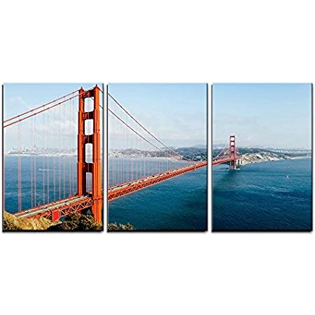 Wall26 3 Piece Canvas Wall Art Golden Gate Bridge At Twilight San Francisco Usa Modern Home Art Stretched And Framed Ready To Hang 24 X36 X3 Panels Posters Prints