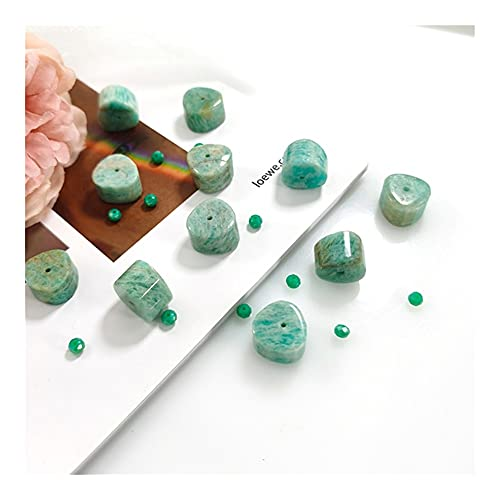 DFUF Hermoso Regalo 10x15mm Verde Natural faceta amazonita Granos Piedra Piedras Preciosas Perlas Joyas Hechas Pulseras Collares Pendiente Colgantes (Item Diameter : 10x15mm)