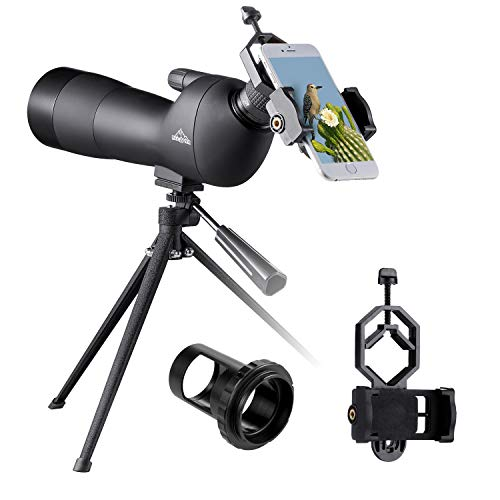 BEBANG 20-60x60 Spotting Scope for Bird Watching, Waterproof Zoom Scope with High Definition, FMC Coated Optical Lens, for Target Shooting, with a Tripod, Smartphone Adapter, Canon Camera Adapter