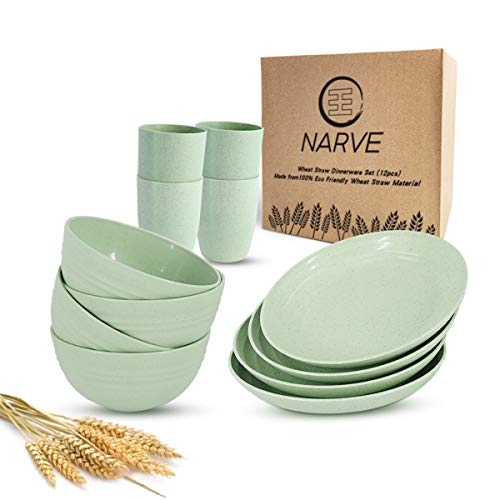Wheat Straw Dinnerware Sets (12pcs) Green- Unbreakable Microwave Safe-Lightweight Bowls, Cups,...