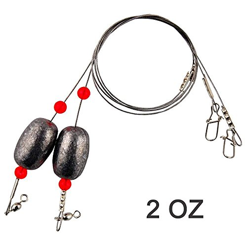 Fishing Egg Sinker Weight Rigs - 8pcs Ready Rigs Leader Sinker Fishing Swivel Snap Connector Stainless Steel Fishing Leader Wire Trout Flounder Bottom Fish (8PCS 2 OZ)
