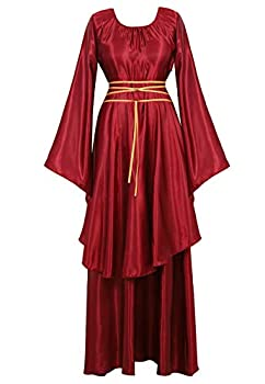 Womens Deluxe Medieval Victorian Costume Renaissance Long Dress Costumes Irish Over Cosplay Retro Gown Wine Red-L