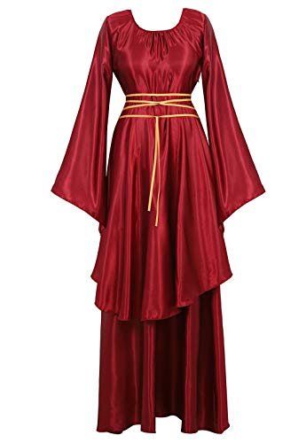 Womens Deluxe Medieval Victorian Costume Renaissance Long Dress Costumes Irish Over Cosplay Retro Gown Wine Red-M