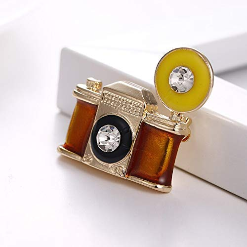 1 Uds, Broche de cámara Vintage, broches de esmalte de cristal para mujeres, hombres, abrigo, suéter, bufanda, accesorios, joyería, recuerdos