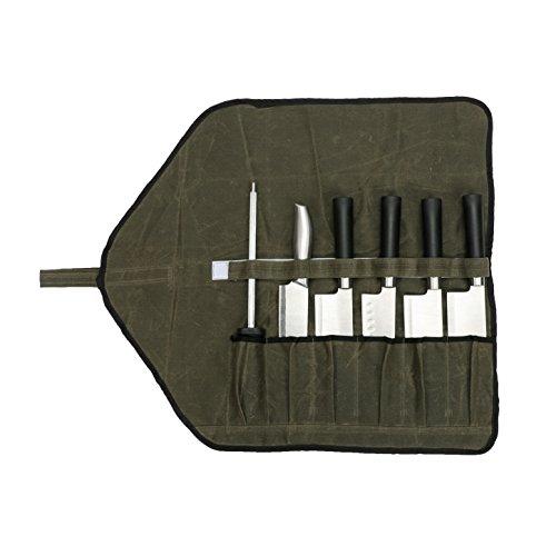 Bolsa de rollo de cuchillo de lona encerada a prueba de agua con 6 ranuras Bolsas de herramientas Almacenamiento para estudiantes culinarios o chef profesional
