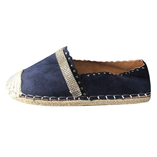 Alwayswin Damen Freizeitschuhe, Canvas Schuhe Slipper Mokassins Sneaker Mode Strass Strawing Schuhe Damen Flache Römische Schuhe Sommerschuhe