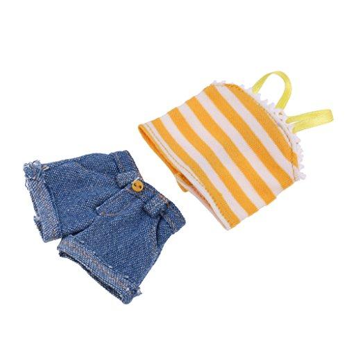 Puppen Sommer West, Shirt, Hose, Mantel, Shorts Freizeitkleidung Für 1/6 Blythe Puppe Zubehör - # F