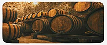Lunarable Winery Kitchen Mat Barrels for Storage of Wine Italy Oak Container in Cold Dark Underground Cellar Plush Decorative Kitchen Mat with Non Slip Backing 47  X 19  Apricot Brown