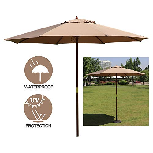 LXLA Sonnenschirm 8,6 Fuß Khaki Sonnenschirm, Sonnenschirme Im Freien Marktschirme Tischschirme mit Holzstange & 8 Rippen, UV-Schutz für Garten/Rasen/Deck/Garten/Pools (Color : 8.6ft/2.7m Khaki)