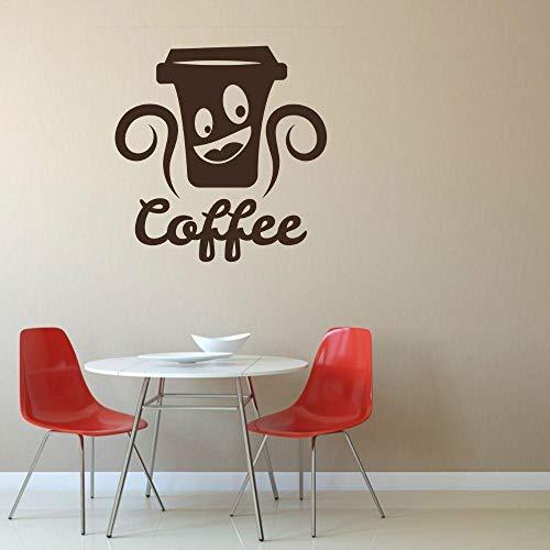 Wandaufkleber, Vinylaufkleber Lächelnde Kaffeetasse Silhouette Wandtattoo Coffee Shop Wanddekoration 42X42Cm