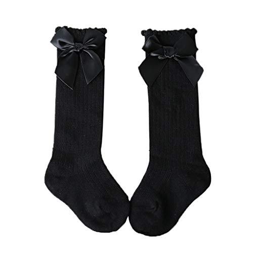 URIBAKY - Calcetines largos para otoño/invierno de bebé, gran arco, rodilla, alto algodón, suave, encaje, medianas largas, antiderrapantes, para 0-3 años Negro Talla única