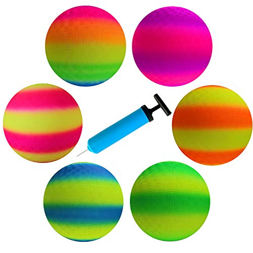 ActEarlier Playground Ball 8.5 inch (6 Pack) Kickball for Kids-Official Size Playground Ball for School, Church, Picnic, Birthday Party, in Bright Neo Colors + Double Action Hand Pump