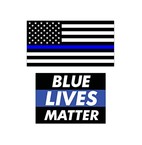 2-Pack Thin Blue Line American Flag and Blue Lives Matter Vinyl Decals Stickers