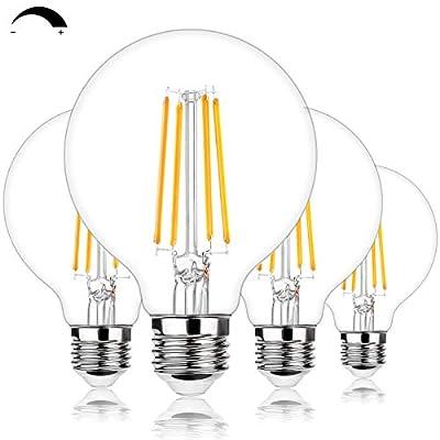 G25 LED Edison Dimmable Globe Light Bulbs 100W Equivalent 1200LM 2700K Soft Warm White LED Vanity Light 8W E26 Medium Base Vintage Filament Bulbs for Bedroom Bathroom Makeup Mirror Pendant 4 Packs