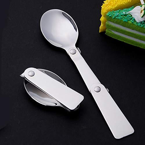Enticerowts - Cucchiaio portatile pieghevole in acciaio inox, resistente da usare, per campeggio, viaggi, picnic, comodo da usare, colore: argento