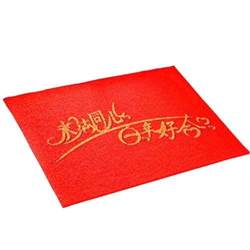 Te gebruiken voor decoratieve vloermatten van de bruidskamer, goede elasticiteit, antislip, eenvoudige reiniging, milieuvriendelijke praktische tapijt-deurmat, geschikt voor slaapkamer, hal, rood, kan vrij worden