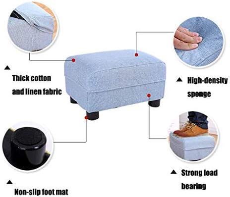 ATTDDP Pouf Tabouret Tissu Ottoman Pouf Repose - Repose-Pieds Support en Bois Rectangulaire Rembourré Footchair Accueil Pouf Chaise Canapé Tabouret Repose-Pieds,Violet Beige