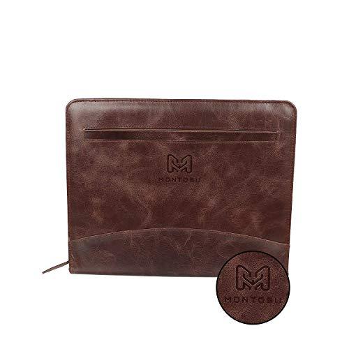 Leather File Folder with Zipper, Professional Padfolio, Top Grain Leather Montosu Document Holder, File Organizer for Office, Business Executive Portfolio, Ipad/Tablet Holder
