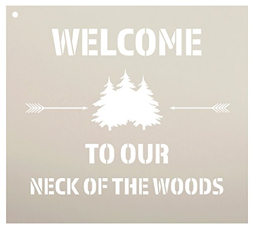 """Welcome to Our Neck of The Woods - Trees & Arrows Stencil by StudioR12 