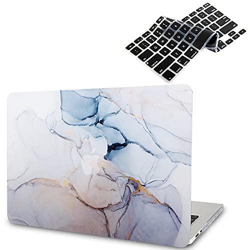 Funda para MacBook Air 2020 (Modelo: A2337 M1 A2179 A1932), Efecto 3D Funda para MacBook Air de 13,3 Pulgadas 2019 2018 con Touch ID + 2 Cubiertas de Teclado Negras, Mármol Blanco