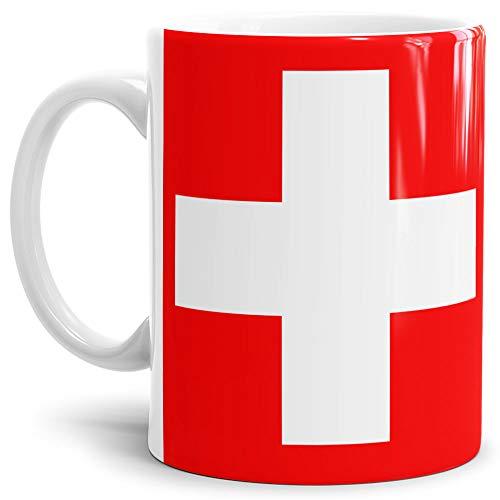 Tassendruck Flaggen-Tasse/Souvenir/Urlaub/Länder-Fahne/Kaffetasse/Mug/Cup - (Schweiz, Normal)