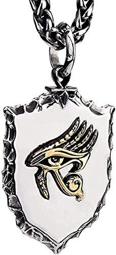 Collar Collar Punk Titanio Acero Egipcio Oro Ojo de Horus Escudo Amuleto Colgante Collar para Hombres Niños 27 Pulgadas Cadena Colgante Collar para Mujeres Hombres Collar