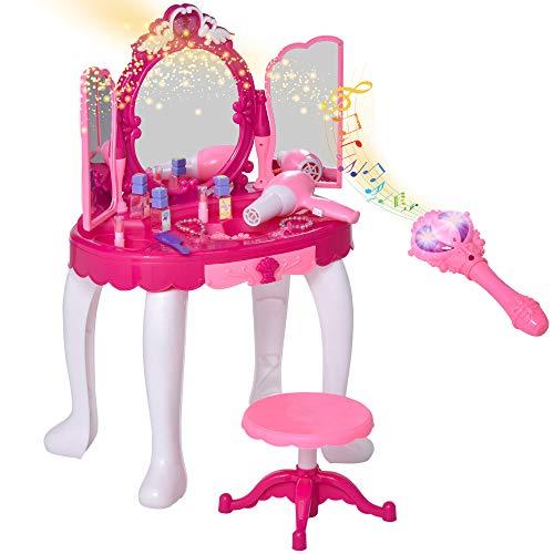 HOMCOM Tocador de Juguete Infantil Accesorios de Maquillaje con Espejo de +3 Años Efectos de Luz...