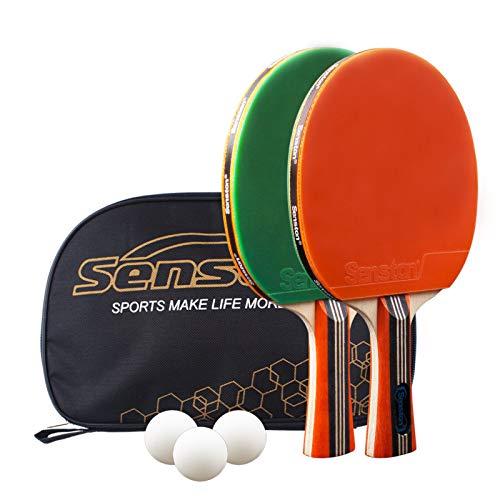 Senston Tischtennis Set, 2 Tischtennisschläger, 3 Tischtennis-Bälle und 1 Tasche Ideal für Anfänger, Familien und Profis