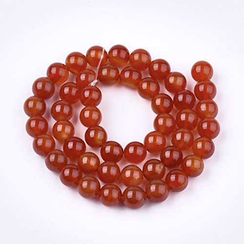 Cuentas redondas de ágata roja natural de 8 mm para hacer joyas, pulseras y collares (ágata roja, 8 mm)