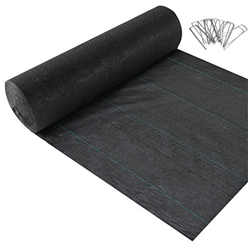 MAXXPRIME Premium 5oz Garden Weed Barrier Landscape Fabric 3ft x 250ft, Durable & Heavy Duty Weed Block Gardening Mat with 100 Pack 6 Inch Garden Stakes Landscape Staples