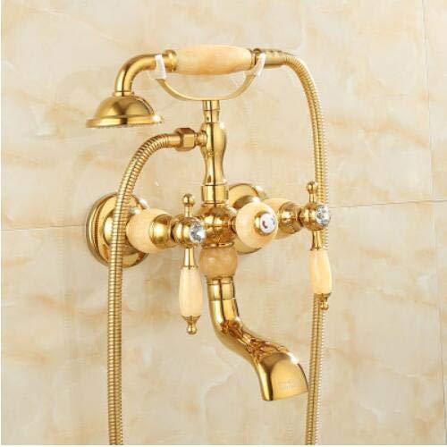 G0000D - Grifo de ducha de latón pulido dorado grifo de baño ducha mano lluvia ducha grifo de lujo de jade teléfono pared baño ducha grifo de ducha