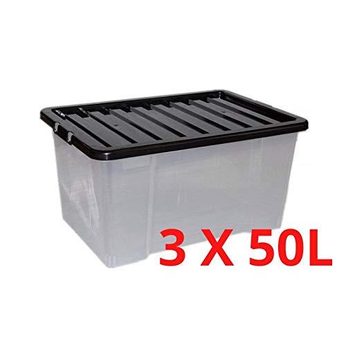 Storage King Pack de 3 Cajas de Almacenamiento de plástico Transparente con Tapa Negra Grande, Fuerte y apilable, plástico, 50 L