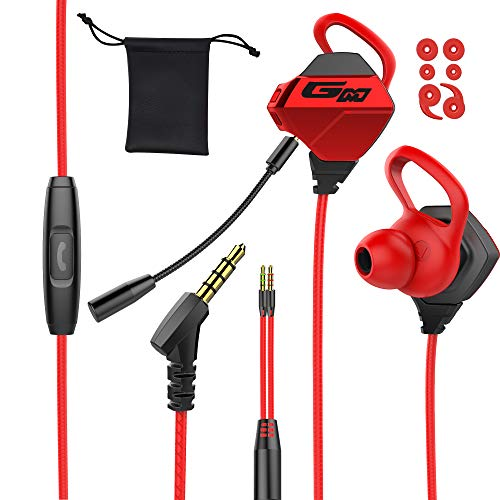 Tititek Gaming Earbuds with Microphone, Stereo Wired Headphones for Computer Gamer in-Ear Headphones with Detachable Mic for PS 5 Video Game E-Sport Earphone with 3.5mm Jack (Red)