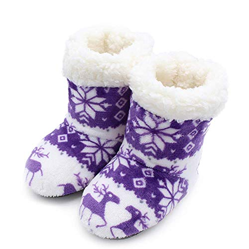 1-3 Jahre alte Winter-Indoor-Stiefel, Home Warm Fawn Indoor-Kinderpantoffeln, Kinder-Bodensocken, Lila, 19 cm