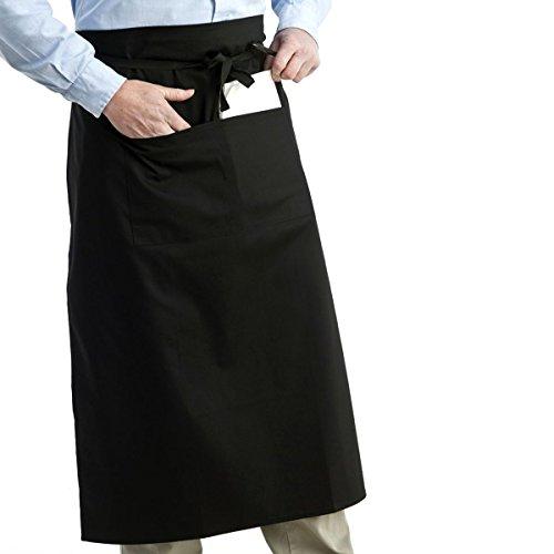 Tinksky - Delantal universal unisex para mujeres y hombres, cocina, delantal atado a la cintura, delantal corto, camarero, color negro