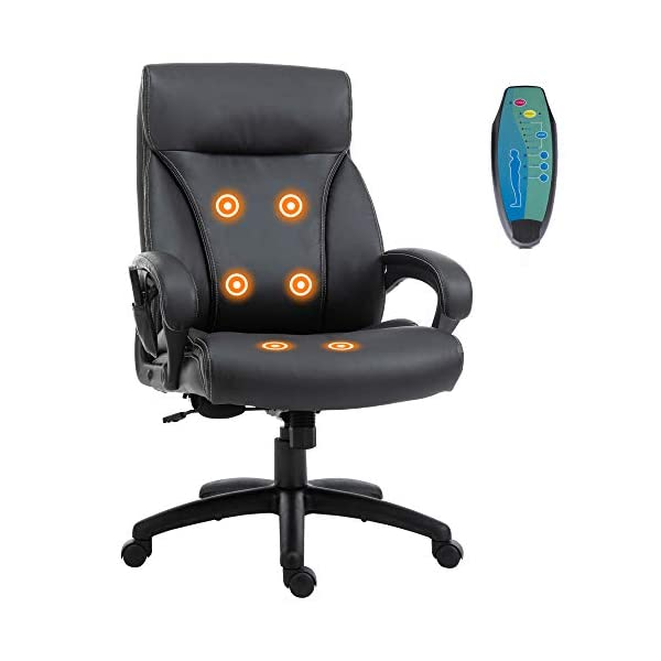 Vinsetto Massage Office Chair, Ergonomic Desk Chair with 6 Vibrating Points, Height-Adjustable,...