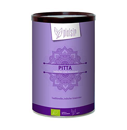 Plaisir Bio Chai Pulver Indischer Gewürztee Pitta 350 gr. Dose (Consumer) Bio zertifiziertes Getränkepulver mit Schwarztee, Zimt, Anis, Ingwer, Kardamom und Honig Aroma (natürlich)