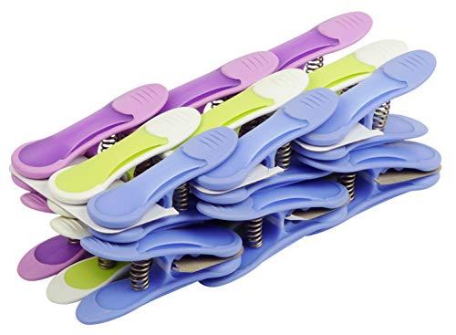 LAGUELLE - Pack 18 Maxi Clips - Fabrication Française - Assorties Mauve, Bleu et Vert