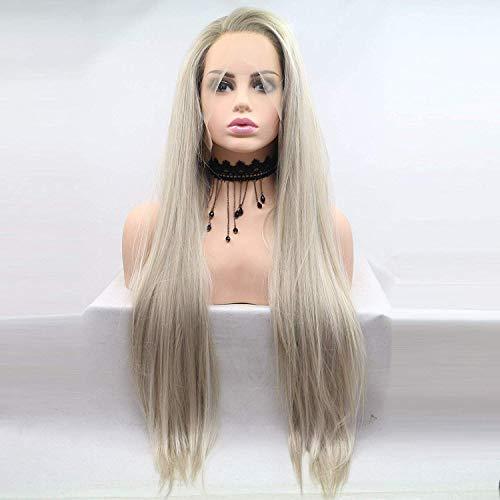 RainaHair 26 inches Vrouwen Blonde Ombre Side Deel Synthetische Kant Voor Pruiken Lange Zijdeachtige Straight Haar Donker Blonde Wortels Warmte Veilig Half Hand Gebonden