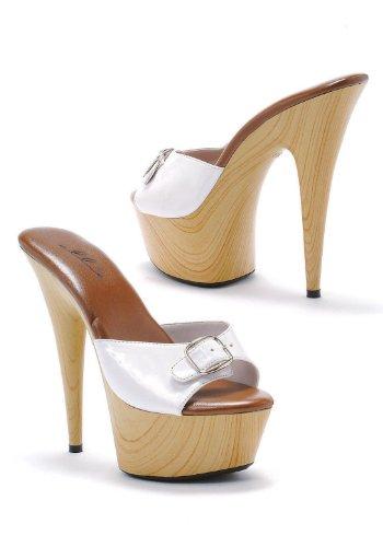 Ellie Shoes Women's 609-Barbara Mule Wood Platform Heels White 11