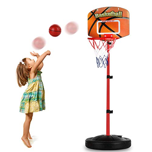 Toddler Basketball Hoop Stand Adjustable Height 2.5 ft -5.1 ft Mini Indoor Basketball Goal Toy with Ball Pump for Baby Kids Boys Girls Outdoor Outside Yard Backyard Games 3 4 5 Years Old Easter Toy