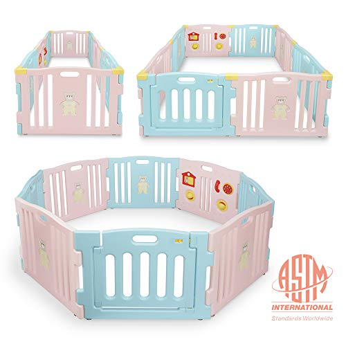Purchase Kidzone Baby Interactive Playpen 8 Panel Safety Gate Children Play Center Child Activity Pe...