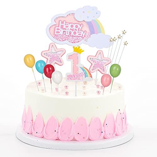 Decoración para tartas con purpurina rosa, arcoíris globos estrellas para cupcakes palillo para tartas de dientes, figuras de azúcar para 1 ° año niñas bebés niños decoración de fiesta de cumpleaños