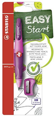 Ergonomischer Druck-Bleistift für Rechtshänder - STABILO EASYergo 3.15 in pink/lila - inklusive 1 dicken Mine - Härtegrad HB & Spitzer