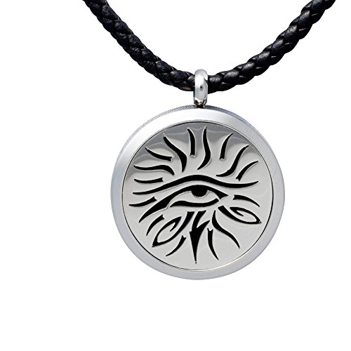 Aromatherapy Essential Oil Diffuser Necklace Jewelry ~ Wear Your Aroma Oils ~ Hypo-Allergenic 316L Surgical Grade Stainless Steel Locket Pendant | 3 Reusable Refill Pads Included | Perfect For Men
